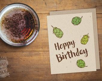 Hoppy Birthday Folded Beer Card; Beer Card, Craft Beer Lover, Greeting Card, Beer Saying, Happy Birthday, Beer Hops, Cards for Men, IPA