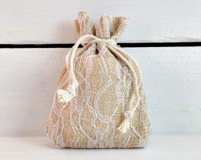 Ivory Lace Burlap Favor Bag, Elegant Lace Wedding Favor Bag, 4x5 Burlap Favor Bag, Burlap Wedding Favor Bag, Rustic Wedding Favor Bag