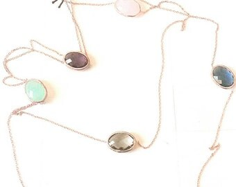 SALE 10% Multicolored bezel crystals long necklace, rose gold, 925 sterling silver
