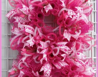 Breast Cancer Awareness Wreath; ON SALE!;   made of deco mesh, decoration for Doors or Walls; excellent gift