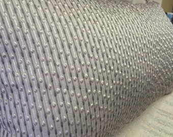 Gray Embroidered Textured Pattern Pillow Cover w/ Zipper, 12x20
