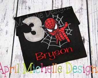 Spiderman Birthday Shirt, Personalized Spiderman, Boys Appliqued Shirt, Boys Birthday Shirt, Boys spiderman, Black Shirt