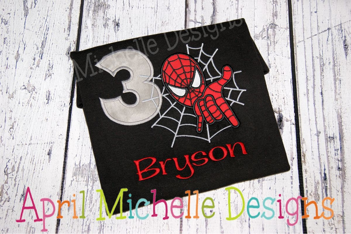 Design your own t shirt in pakistan - Spiderman Birthday Shirt Personalized Spiderman Boys Appliqued Shirt Boys Birthday Shirt Boys Spiderman Black Shirt