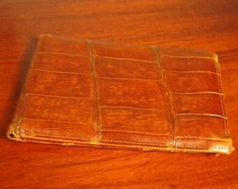 Antique Edwardian Art Deco Era Crocodile Wallet Purse Billfold Case C1930