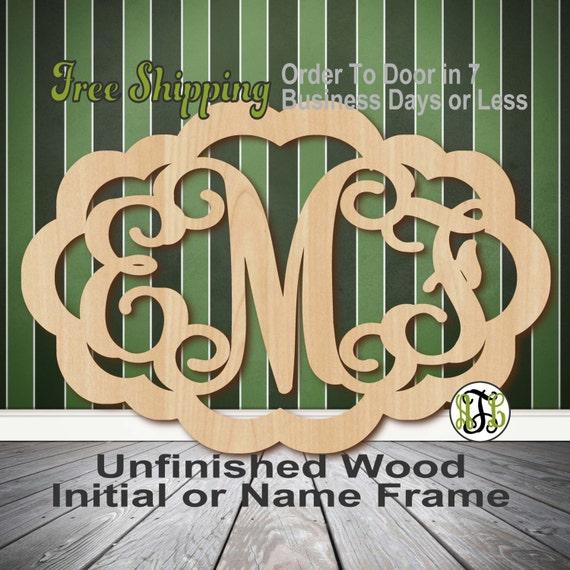 Unfinished Wood Madison Frame Monogram, Name, Word, Custom, laser cut wood, wooden cut out, Wedding, Personalized, DIY
