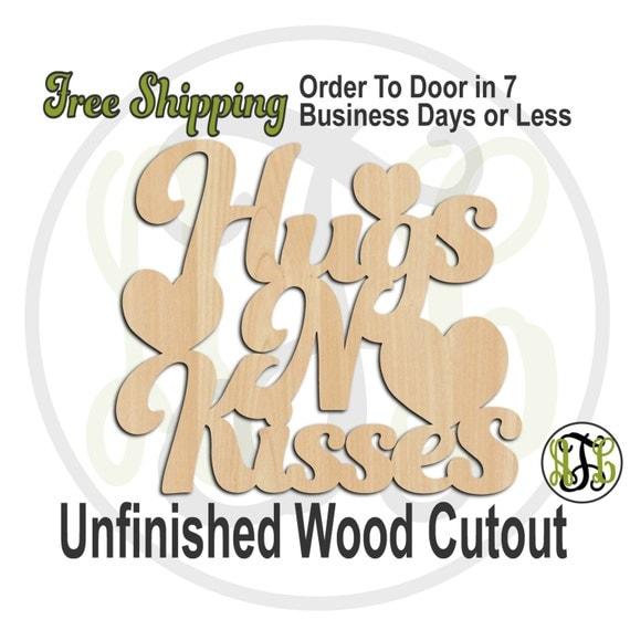 Hugs N Kisses - 110009- Valentine Cutout, unfinished, wood cutout, wood craft, laser cut wood, wood cut out, Door Hanger, wooden sign