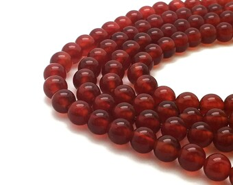 10mm Natural Red Agate Beads Round 10mm Red Agate 10mm Red Beads 10mm Red Gemstone 10mm Red Stone Mala 10 mm Red Agate