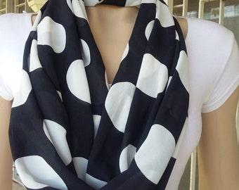 polka-dot scarf, black and white scarf, chiffon scarves,, polka-dot scarf, infinity scarves, Black and white scarf, Cozy scarf, elegant