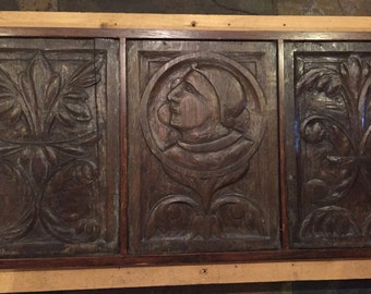 Victorian carved wooden panel