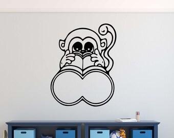 Monkey Binoculars Vinyl Wall Decal Decor