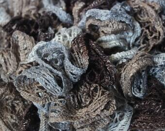 Coffee Break Ruffle Scarf with subtle Metallic Shimmer