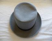 Vintage Top Hat Planar Merino Felt Hat Gray Stove Pipe Hat Five Inch Chimney Hat