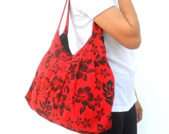 Tote bag Lady Women Bag Ethnic bag  Bohemian Bag Red Black Flower Bag Shoulder Bag Hippie Boho Purse Messenger Gift Bag