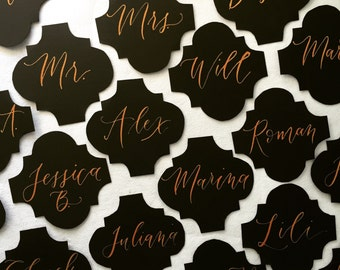 Calligraphy Place Cards - Lantern Tile Shape