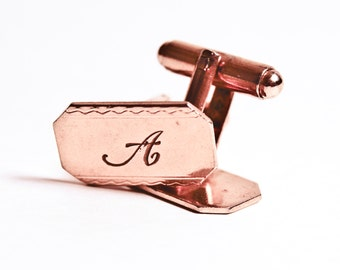Vintage gold tone monogrammed A cuff links - script letter A - unsigned - suit and tie accessories - men's jewelry - gifts for him
