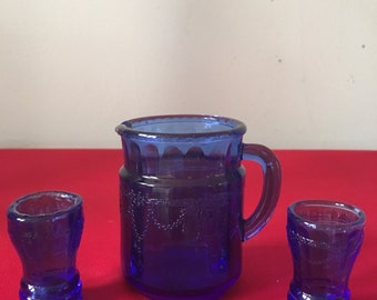 Miniature Cobalt Blue Pitcher and Glasses