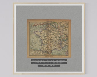 1943 Vintage Map of France with Inspirational Travel Quote by Anita Desai