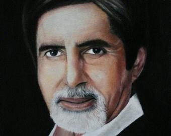 Amitabh Bachchan original framed drawing