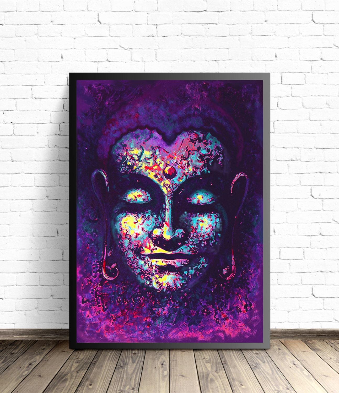 Framelessoil Paintings Canvas Colorful Buddha Sitting Wall: Buddha Poster Meditation Art Yoga Home Decor Buddha Wall