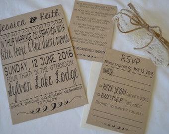 Rustic Wedding Invitations - Bites, Booze, and Bad Dance Moves -  KRAFT Wedding Invites