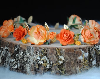 NEVAEH FLOWER CROWN, gold flower crown, orange flower crown, ranunculus flower crown, baby flower crown, flower girl,