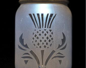 Solar Mason Jar Light (Hand Etched Thistle)
