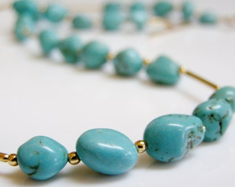 Turquoise Necklace - Turquoise Nuggets with 14K Gold Fill, Turquoise and Gold, Green Blue Stone Necklace, Gemstone / Birthstone Necklace