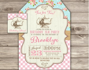 22 Printed Tea For Two 2nd Cowgirl Shabby Chic Birthday Invitations Second Party Country