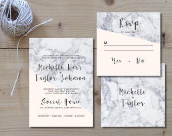 Printable Wedding Invitation Set | Wedding Invitation + RSVP  | Marble, cream, gray, moderne, classic, handwritten, geometric | Luxe