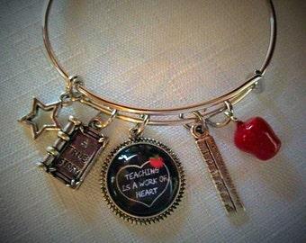 Teacher Bangle Bracelet, Teaching Is A Work Of Heart Bangle Bracelet