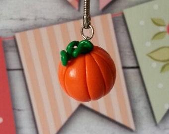 Polymer clay pumpkin keychain
