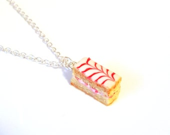Miniature French Pastry Strawberry Mille Feuille Necklace with Silver Plated Chain