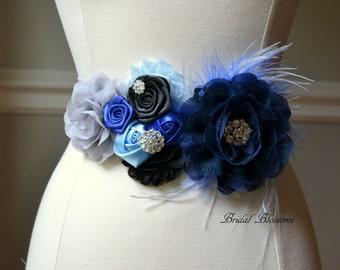 BEST SELLER - SAMI Gray Black Royal Navy Blue Flower Maternity Sash | It's A Boy | Newborn Photo Prop | Baby Shower Belly Band Belt Feathers