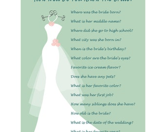 How Well Do You Know The Bride Game - Who Knows The Bride Best - Peach And Mint Wedding - Green Wedding - Bridal Shower Trivia 407