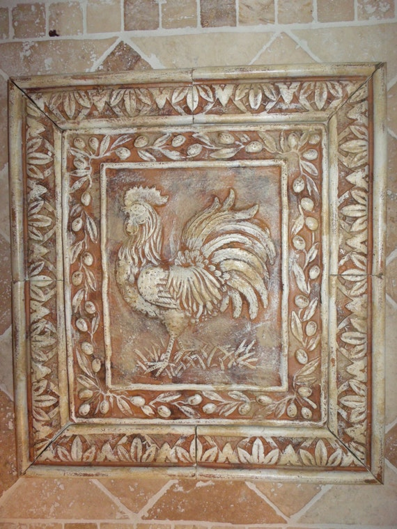 french country rooster cast stone backsplash tile with