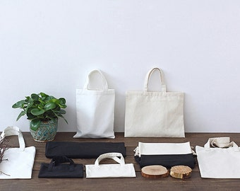 Custom black/ white / creamy printed tote canvas personalize LOGO  white bag-xyhk21