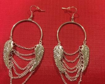 Wing Earrings, Wing and Chain Earrings