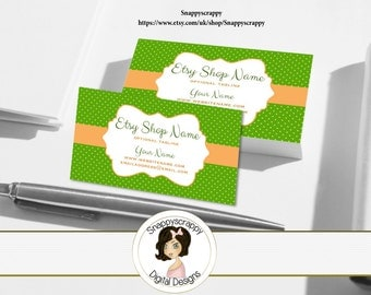 Business Cards, Premade Business Card, Printable Business Card, Digital Business Card Template - Summer Green