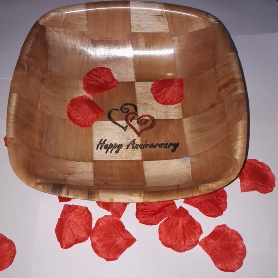 HAPPY ANNIVERSARY hand painted engraved unique gift NATURAL wooden bamboo bowl party table decoration #anniversary