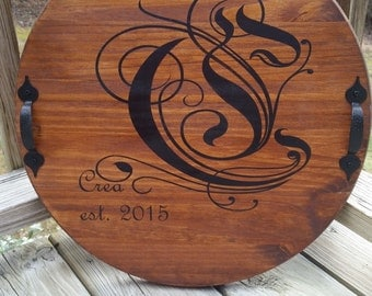 Personalized Wooden TRAY & LAZY SUSAN, Anniversary Gift, Wedding Gift, Rustic Decor, Wedding Decor, Handpainted, Wife Gift, Centerpiece Tabl
