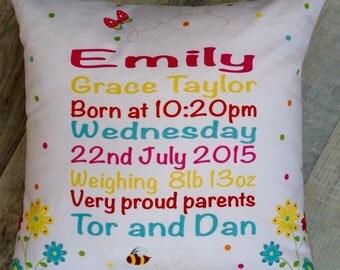 Baby Girl Birth Cushion, baby gift, personalised baby gift, personalised cushion, christening gift, christening cushion