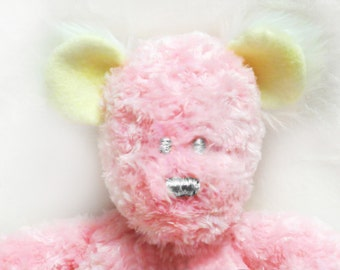 Pink Teddy Bear Plush with yellow ears, Bear Toy, Soft Teddy, Baby Pink Stuffed Bear, Custom Bear, Teddybears, Pink Stuffed Teddy,
