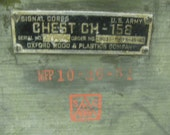 Military / U.S. Army / Signal Corps / Equipment Wooden Crate Box / Chest CH-158 / Oxford Wood & Plastics Company / Vintage / WWII