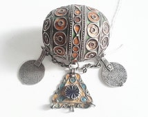 Antique Morroccan Enameled Silver Ball Pendent w Old Coins/Pendant
