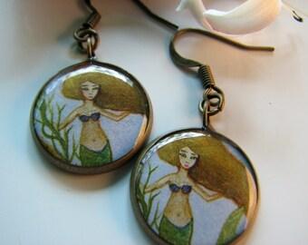 Brown Haired Mermaid (Earrings)