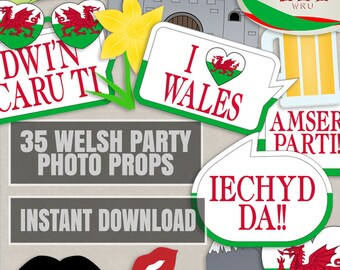 35 Welsh Party Photo Booth Props, Wales party props, love wales party photobooth, welsh party decor diy, croeso, iechyd da, instant download