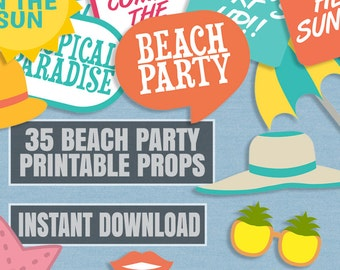 35 Beach Party Prop Printables, Summer party printable props, colorful props, beach props, sunglasses props, beach printable props, instant