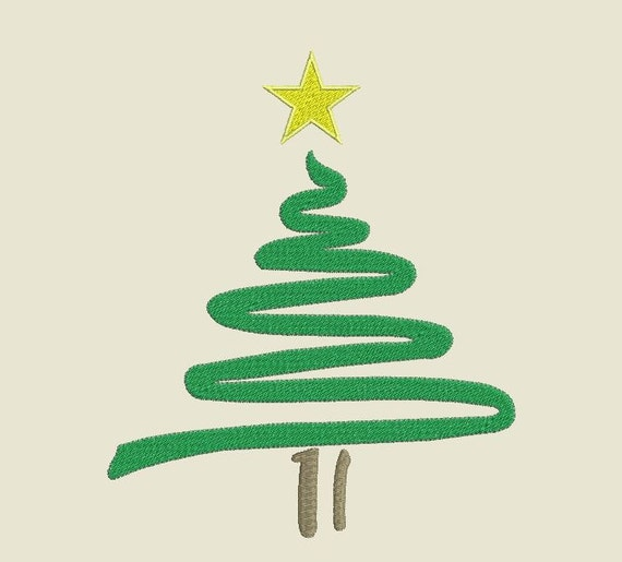 Squiggle Christmas Tree Machine Embroidery Design Files By