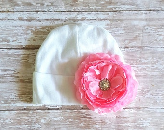 Baby Girl Hat/ Hospital Hat/ Take Home Outfit/ White Baby Hat/ Pink Flower Hat/ Baby Girl/ Rhinestone Center/ Size 0-6 months/ Baby Gift