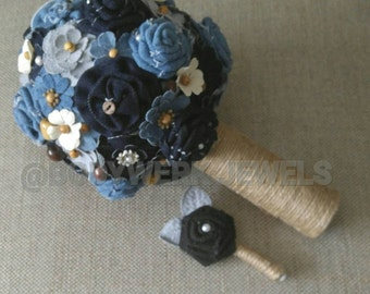 Bespoke Denim Bouquet and Boutonniere